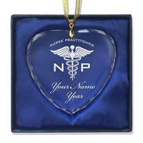 LaserGram Christmas Ornament, NP Nurse Practitioner, Personalized Engraving Included (Heart Shape)