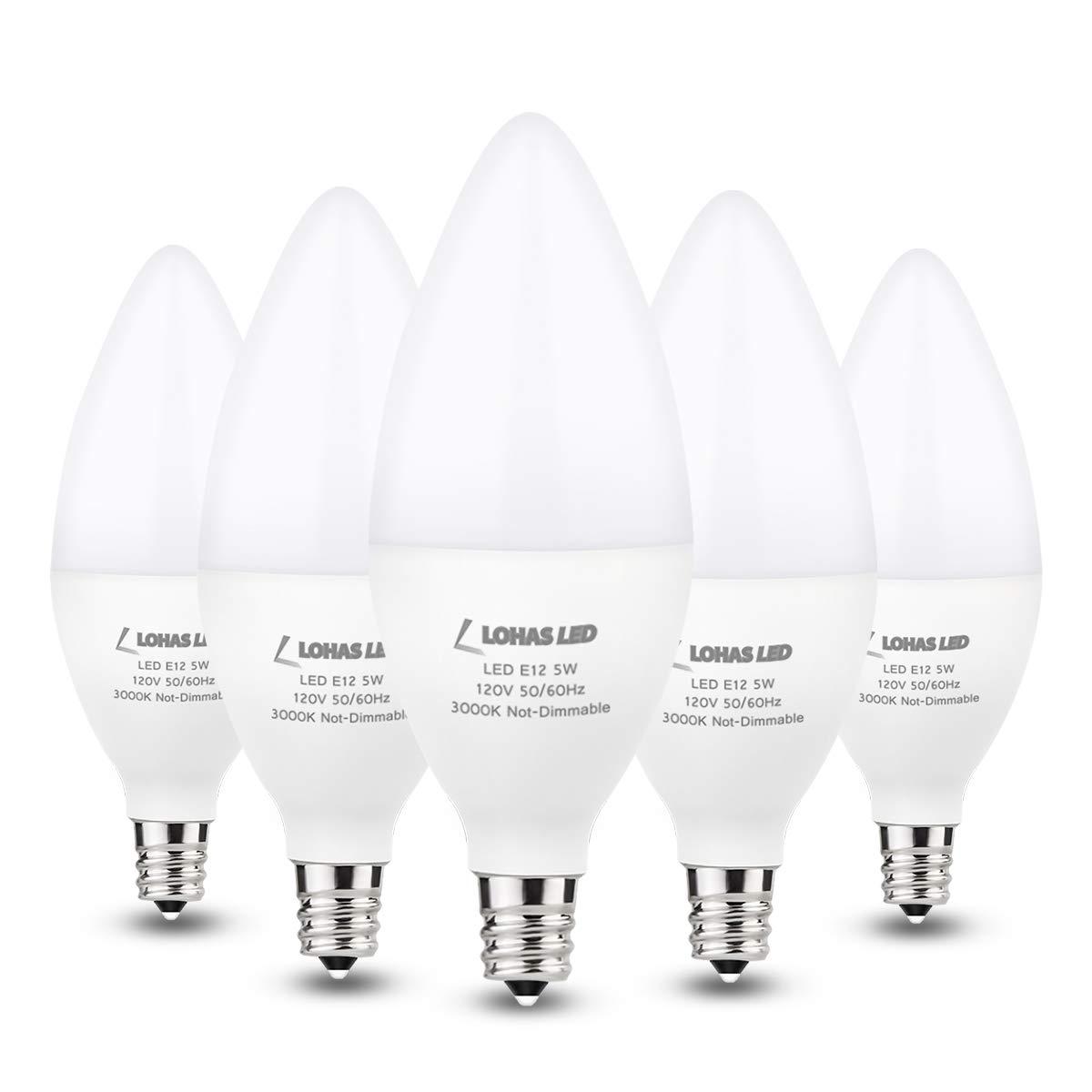 LOHAS E12 Bulb Candelabra LED Light Bulbs 40W Equivalent, Soft White 3000K 5W Candle Light Bulb, Candelabra Base Chandelier Lights for Ceiling Fan Light, Table Lamp, Dimming Room, Not-Dim, 5 Pack