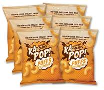 Ka-Pop! Ancient Grain Puffs, Dairy Free Cheddar (4oz, Pack of 6) - Allergen Friendly, Sorghum, Gluten-Free, Paleo Friendly, Non-GMO, Vegan, Whole Grain Snacks, As Seen on Shark Tank