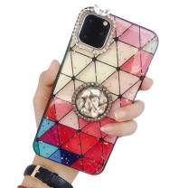 Aulzaju Case for iPhone 11 6.1 Inch, iPhone 11 Bling Ring Stand Case Luxury Shiny Sparkle Shockproof Case Slim Stylish Hard Silicone Kickstand Cover for Girls Women-Red Grid