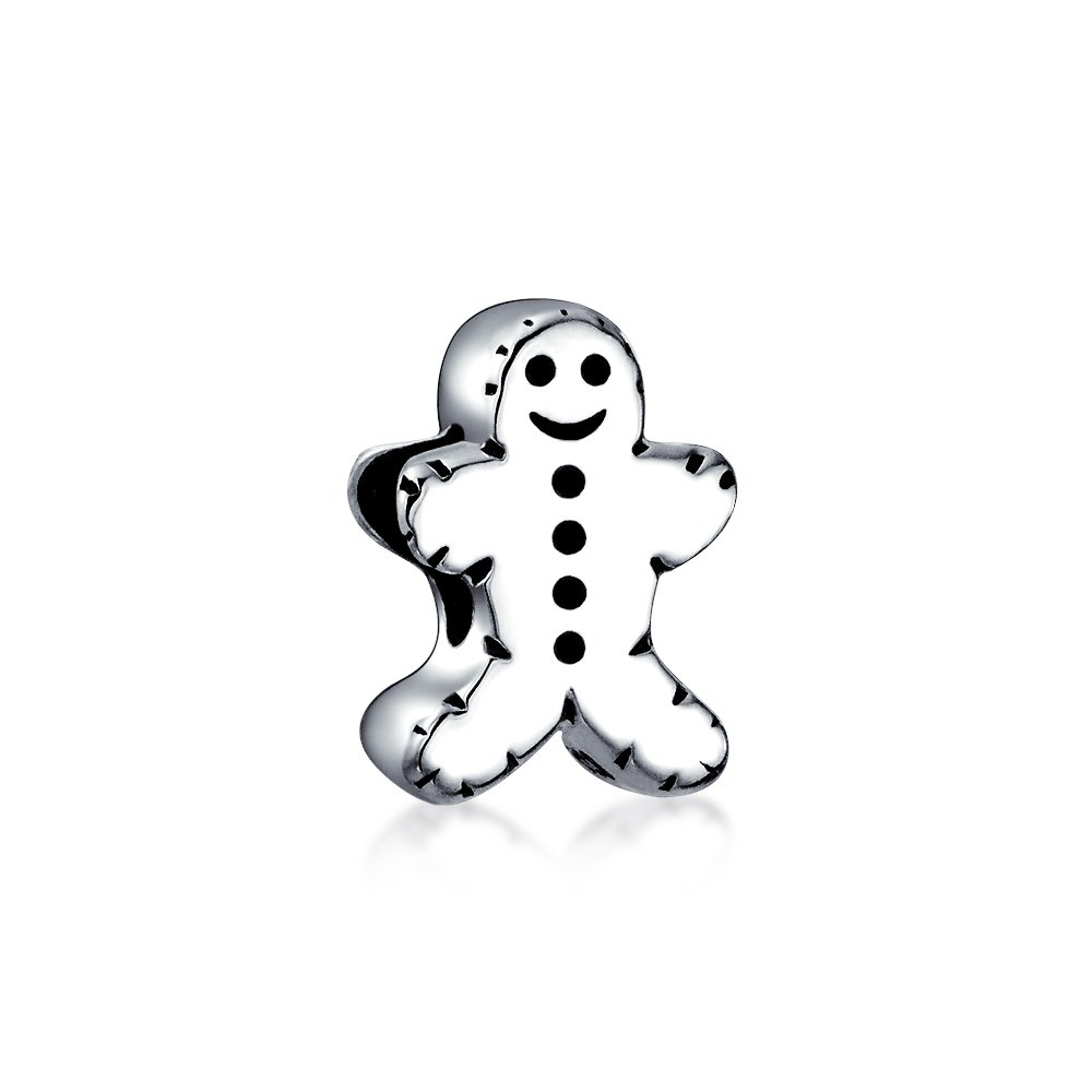 Holiday Christmas Gingerbread Man Cookie Shape Charm Bead For Women For Teen 925 Sterling Silver For European Bracelet