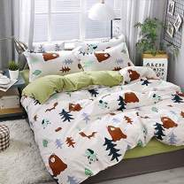 KFZ Bedding Set Full, 3PCS Duvet Cover Set with 1 Comforter Cover (No Comforter Insert), 2 Pillowcases, Bear Fox Elephant Woodland Patterned, Breathable Bed Set for Kids and Teens