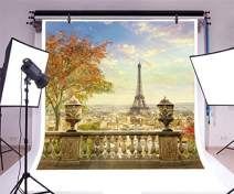 Baocicco 6x6ft Panorama of Paris Eiffel Tower Backdrop Vinyl Photography Background Planform of Paris City Romantic Autumn France View Retro Baluster Maple Tree Tourism Wedding Portrait Prop