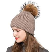 Jancoco Max Women Knit Angora Beanie Hat Winter Thick Ski Bobble Caps Real Raccoon Fur Pompom