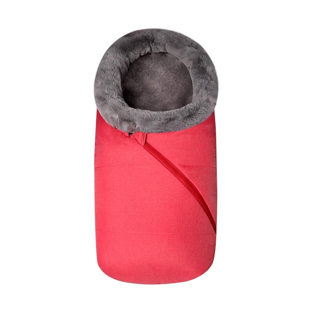 Fur Collar Baby Stroller Sleeping Bag Newborn Sleep Sack Thicken Warm Infant Sleepsacks Keep Warm Waterproof Windproof (Red)