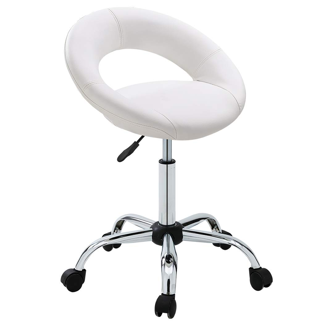 Duhome Adjustable Swivel Work Stool Task Chairs,White Massage Salon Home Office Facial Spa Medical Chair Stool Backrest Cushion & Wheels