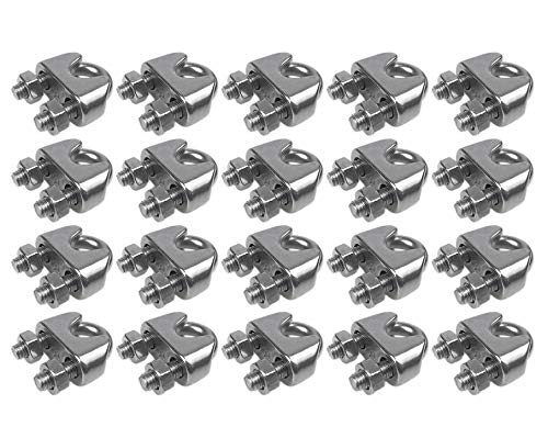 "Muzata Wire Rope Clip,M3 Wire Rope Clamp,T316 Marine Grade Stainless Steel Cable Clamps 1/8"" (20 Pack)"