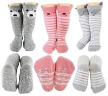 Tiny Captain Baby Girl Knee High Long Socks Non Slip Toddler 8-24 Months Anti Slip Leg Warmer Baby Knee Socks, Best Gifts for 1-3 Year Old Girl (Pink, Small)