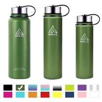 Hiwill Stainless Steel Insulated Water Bottle 2 Lids, Cold 24 Hrs Hot 12 Hrs, Double Wall Vacuum Thermos Flask, Travel Sports Leak Proof Bottle, BPA Free (Army Green, 21 oz)
