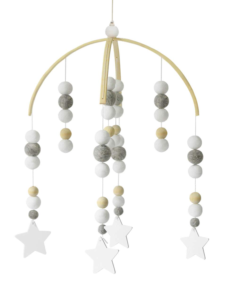 Baby Crib Mobiles Wooden Beads for Children Boys Girls Babies Bed Room Designer Colors to Match Nursery Delight (Z-Starlet)