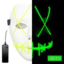 Ansee Scary Mask Halloween Cosplay Led Costume Mask El Wire Light Up Mask for Festival Parties