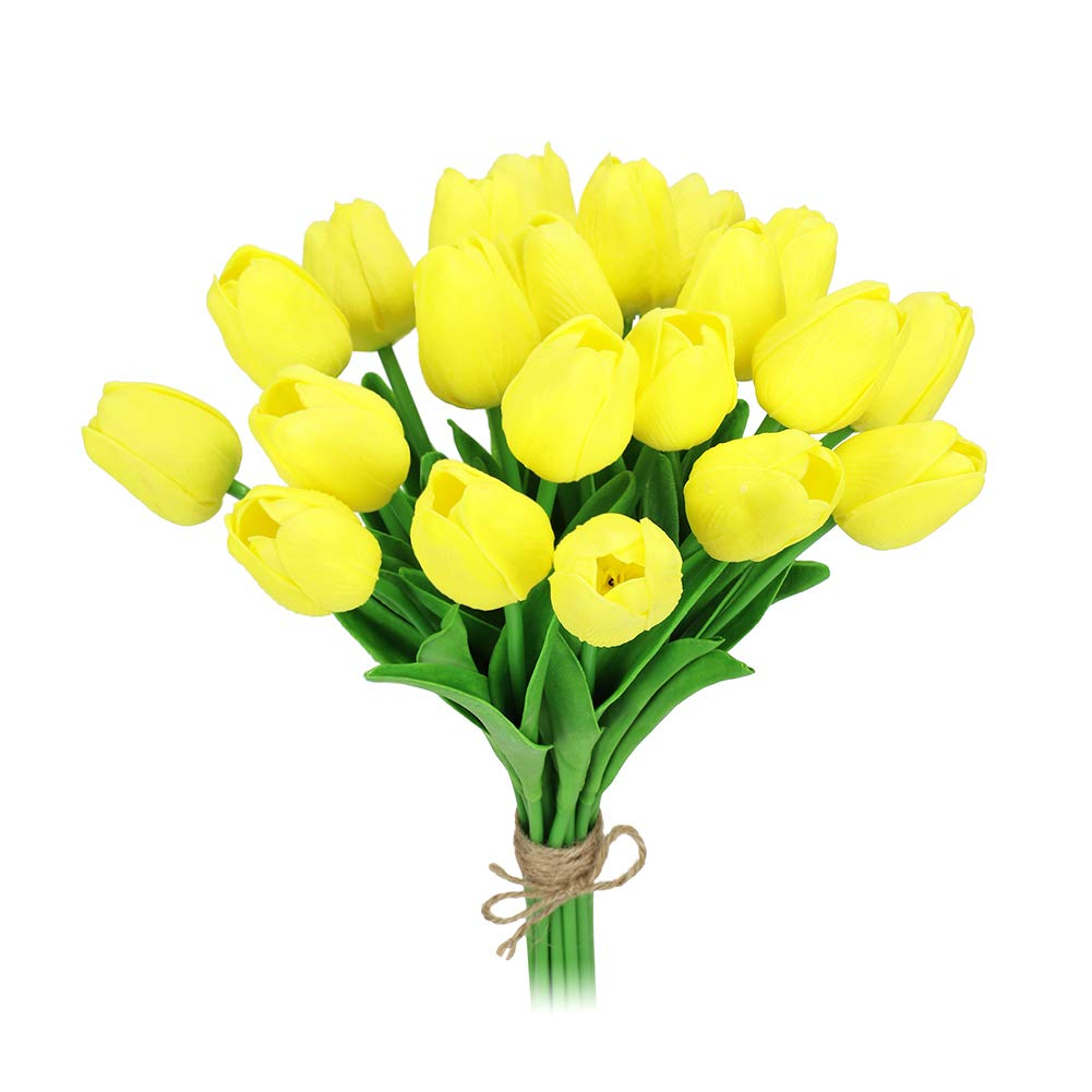 MACTING 22 Heads Latex Real Touch Artificial Flowers Tulips, Fake PU Tulips Flowers for Bridal Bouquet Wedding Home Party Decor (Yellow)
