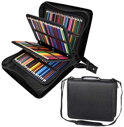 Shulaner 216 Slots PU Leather Colored Pencil Case Organizer Large Capacity Carrying Bag for Prismacolor Watercolor Pencils, Crayola Colored Pencils, Marco Pens, Gel Pens (Black, 216)