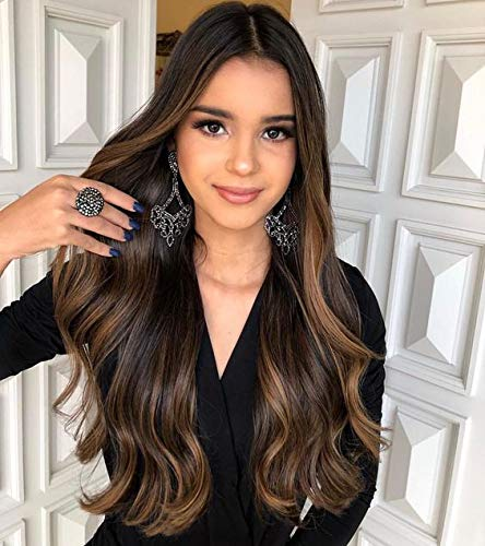 """VeSunny Clip in Hair Extensions Thick End Real Human Hair Extension Dark Brown Mixed Medium Brown Ombre Balayage Clip in Extensions Full Head Straight Human Hair for Dating 24"""" 7pcs/120g"""