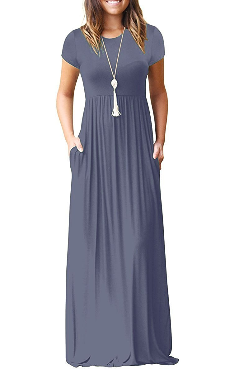 HIYIYEZI Women Short Sleeve Loose Plain Long Maxi Casual Dress with Pockets (XL, 02 Purple Gray- Short Sleeves)