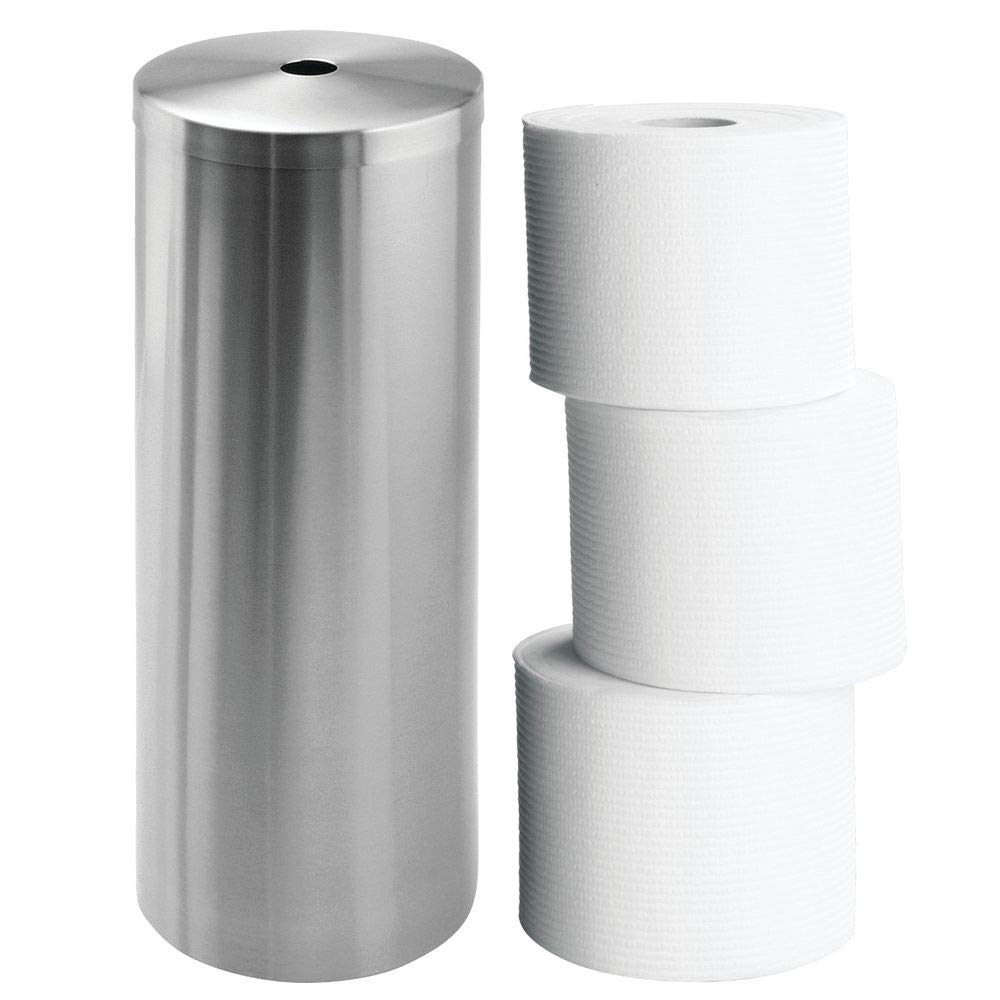 """iDesign Forma Metal Toilet Paper Tissue Roll Reserve Canister Organizer for Master, Guest, Kid's, Office Bathroom or Closet, 5.5"""" x 5.5"""" x 14"""", Brushed Stainless Steel"""