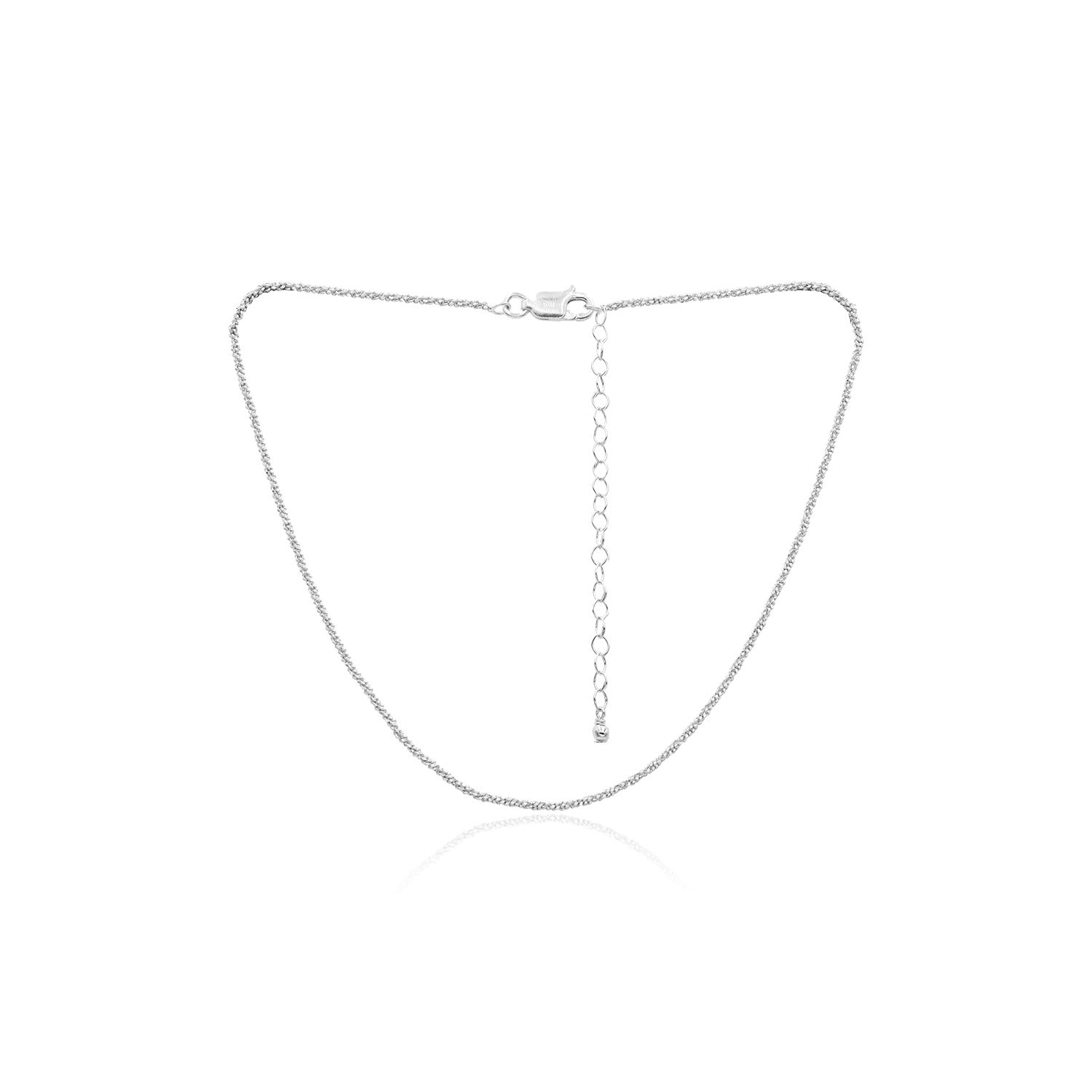 """Sterling Silver 2mm Sparkle Rock Chain Necklace for Women, Size 14"""" - 36"""" Italy"""