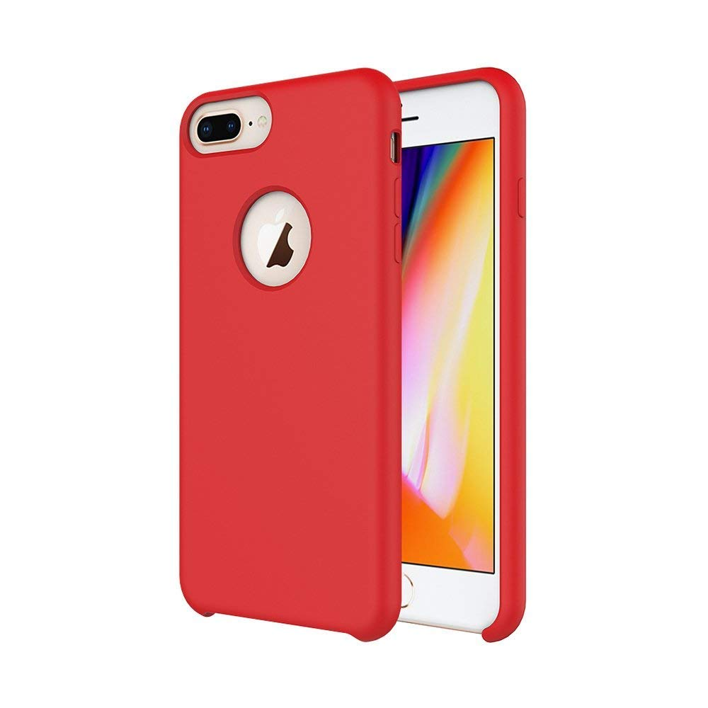 iPhone 7 Plus Case/iPhone 8 Plus Case/iPhone 6 Plus Case, Soft Touch, Comfortable Grip, Slim Fit, Tiamat Liquid Silicone Case with Microfiber Cloth Lining Cushion (Red)