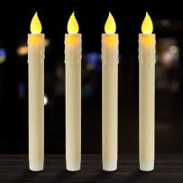 """Beichi 9"""" Flameless Battery Taper Candles, Warm Yellow LED Lights, Dripless Unscented Window Candles for Valentine's Day Decor, Set of 4"""