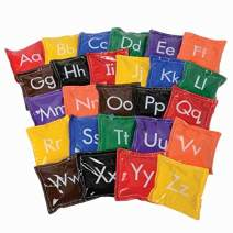 """Constructive Playthings Learning with Set of 26, 4 1/2"""" sq. Alphabet Vinyl Bean Bags with Upper and Lowercase Letters On One Side and Blank On The Other for All Ages"""