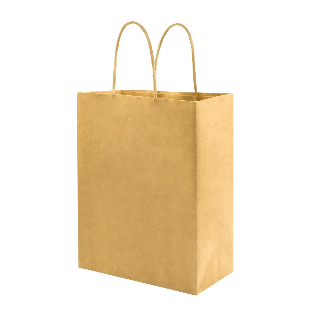 Sturdy Medium Paper Bags with Handles Bulk, Bagmad Brown Kraft Bags 8x4.75x10 inch 50 Pcs Pack, Strong Craft Gift Grocery Shopping Retail Party Wedding Bags Sacks (Thicken, 50pcs)