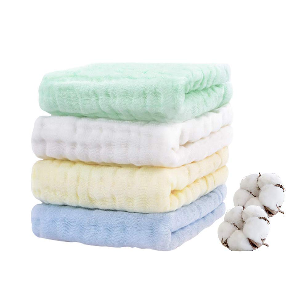 Baby Muslin Burp-Cloths 4 Pack 6 Layers HOPAI Natural Organic Cotton Baby Wipes are Absorbent and Soft for Sensitive Skin