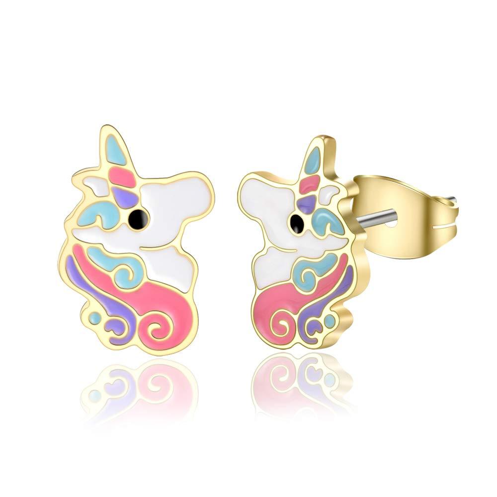 MANVEN Hypoallergenic Unicorn Earrings Cute Animal Stud Earring for Women Girls Birthday Gift
