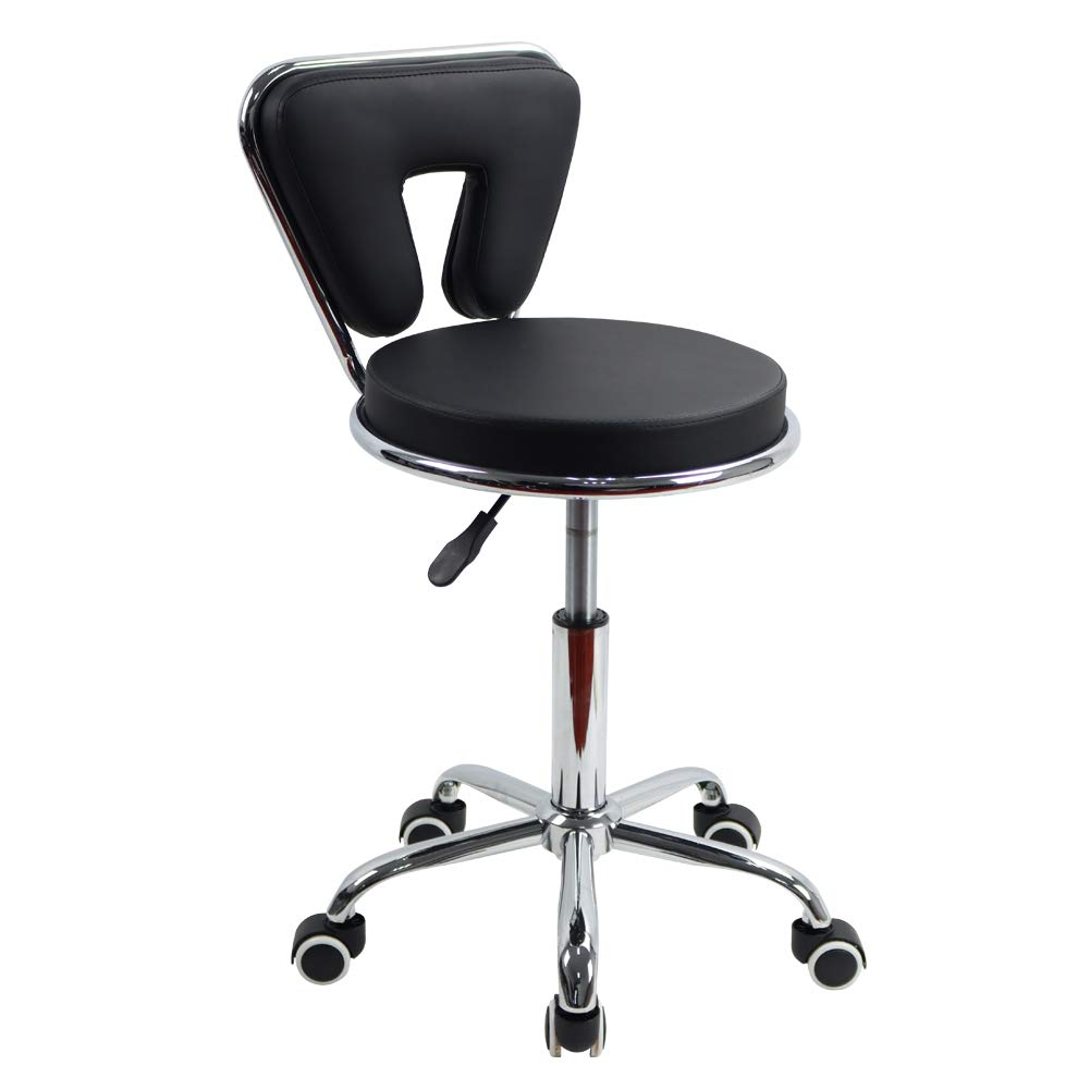 KKTONER PU Leather Low Back Rolling Stool Height Adjustable Modern Cushion Home Office Desk Chair with Wheels (Black)