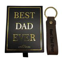 Best Dad Ever Leather key chain gift for Father, man, woman, friend, husband With a box with a dedication