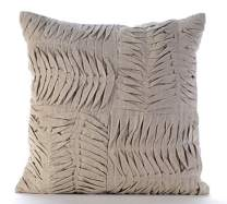 The HomeCentric Luxury Ecru Decorative Pillow Cover, Ruched Pintucks Solid Color Pillows Cover, 14x14 inch (35x35 cm) Pillow Case, Square Cotton Linen Pillow Covers, Patchwork Modern - Tender Waves