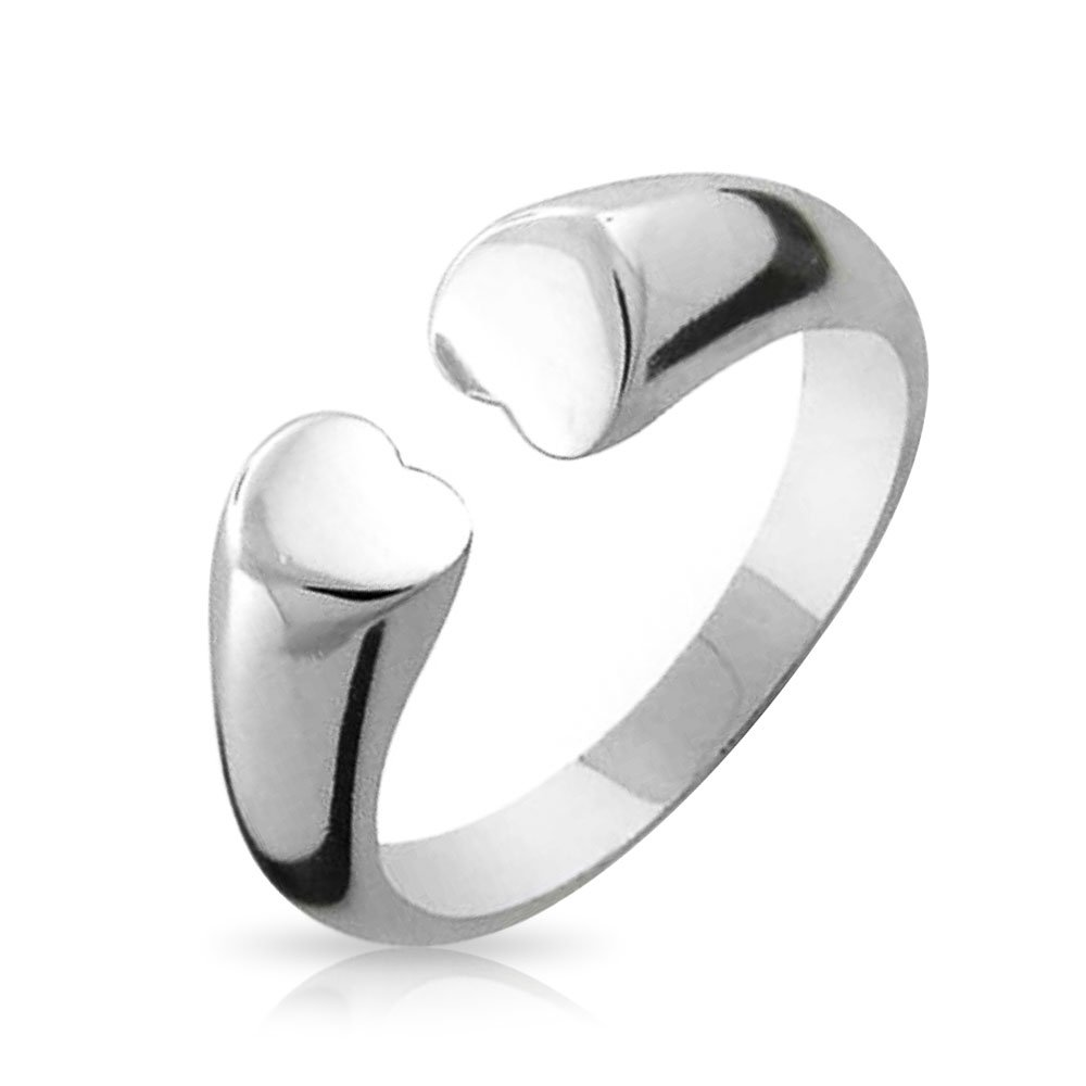 BFF Tender Friendship Open Heart Ring Band For Girlfriend For Teen 925 Sterling Silver Polished