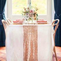 TRLYC 6 Pieces 12 by 108-Inch Wedding Royal Sequin Table Runner, Rose Gold