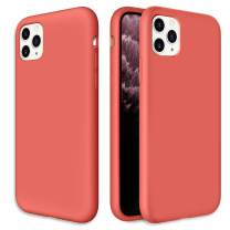 Caka Silicone Case for iPhone 11 Pro Gel Rubber Liquid Silicone Case Soft Slim Girly Luxury Microfiber Cloth Lining Cushion Protective Case for iPhone 11 Pro Inches (Nectarine)