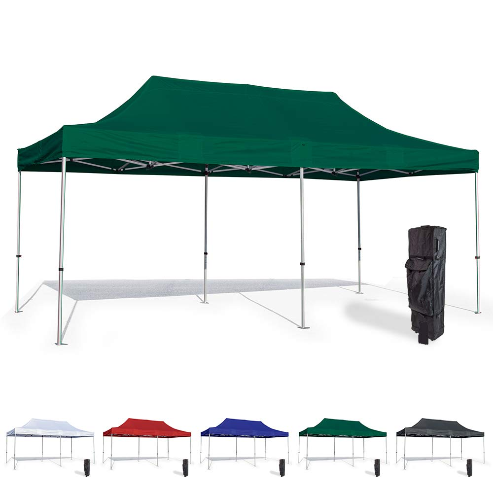 Vispronet 10x20 Pop Up Canopy Tent – Durable Aluminum Frame with Water-Resistant Polyester Fabric Top – Sturdy Wheeled Canopy Bag and Stake Kit Included (Green)