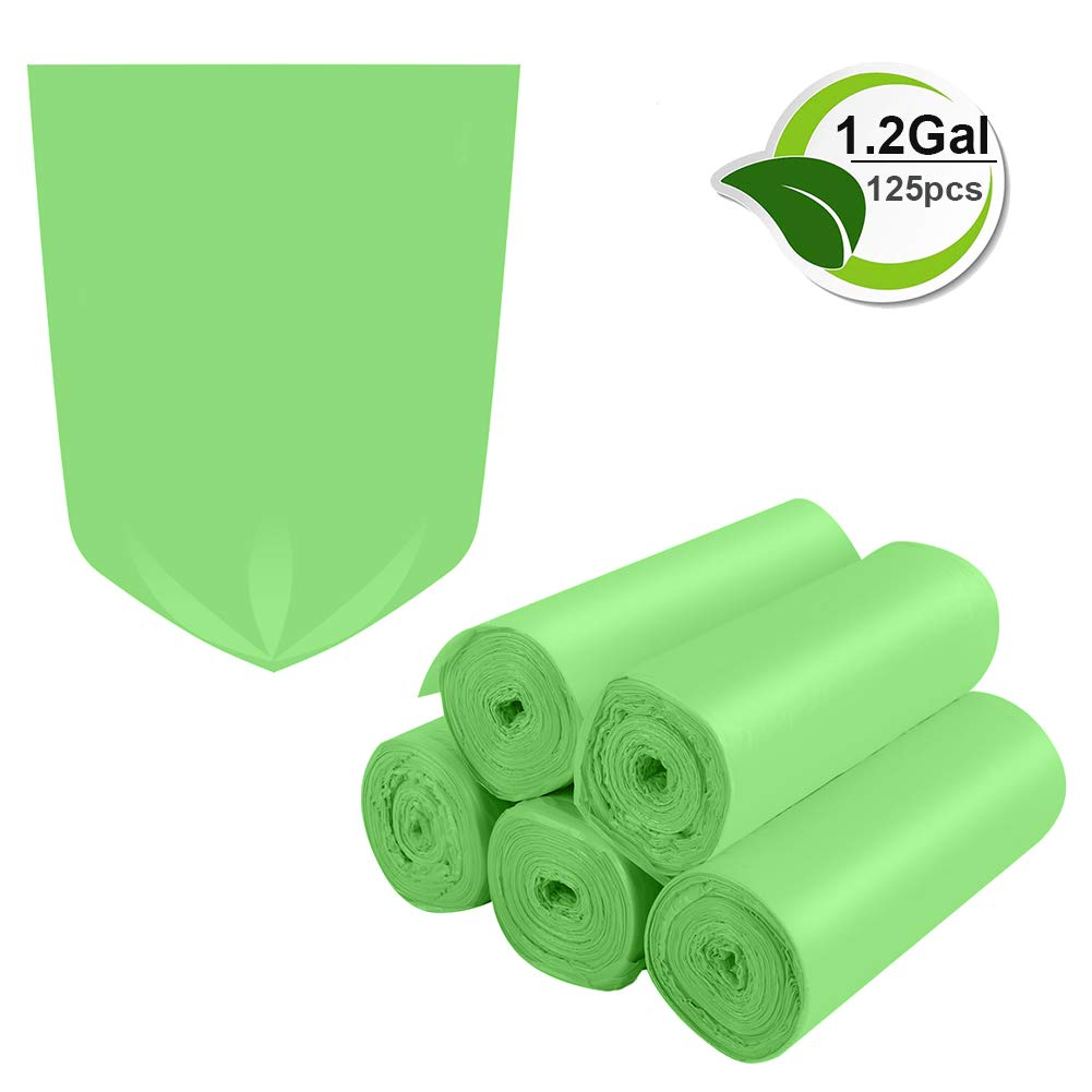 Biodegradable Trash Bags,1.2 Gallon Trash Bags Small Garbage Bags Compostable Recycling Rubbish Bags Unscented Wastebasket Can Liners for Bathroom,Home, Office, Baby diaper(Green, 125 Counts)