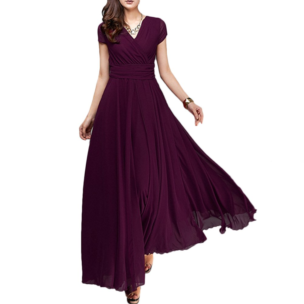 Women's Vintage Deep V Neck Chiffon Long Bridesmaid Dress Wedding Pageant Party Formal Prom Cocktail Evening Gown Maxi Dress Deep Purple XXX-Large