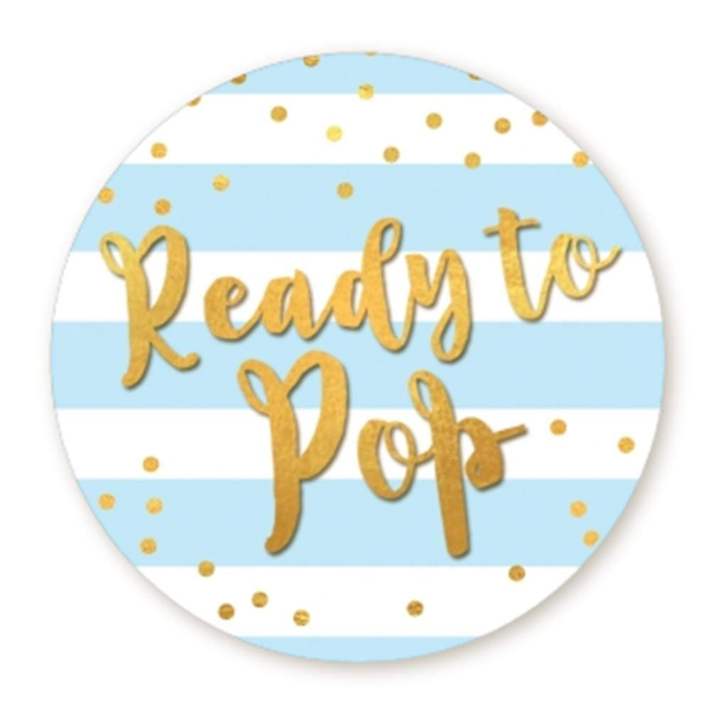 """Ready to Pop Stickers   Faux Metallic Gold   Many Sizes & Colors to Choose from   Ready To Pop Baby Shower Stickers for Popcorn   Ready to Pop Stickers for a Boy or Girl (Blue, 1.67"""")"""