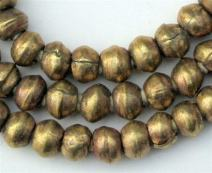 8mm Round Brass Beads - Full Strand of African Metal Spacer Beads - The Bead Chest