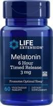 Life Extension Melatonin 6 Hour Timed Release 3 mg, 60 Vegetarian Tablets, 60 Tablets