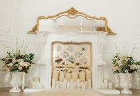 Baocicco Chic Fireplace and Flower Bouquet Interior Backdrop 8x6.5ft Photography Background Elegant Room Candle Light Decoration Festive Celebration Wedding Room Interior