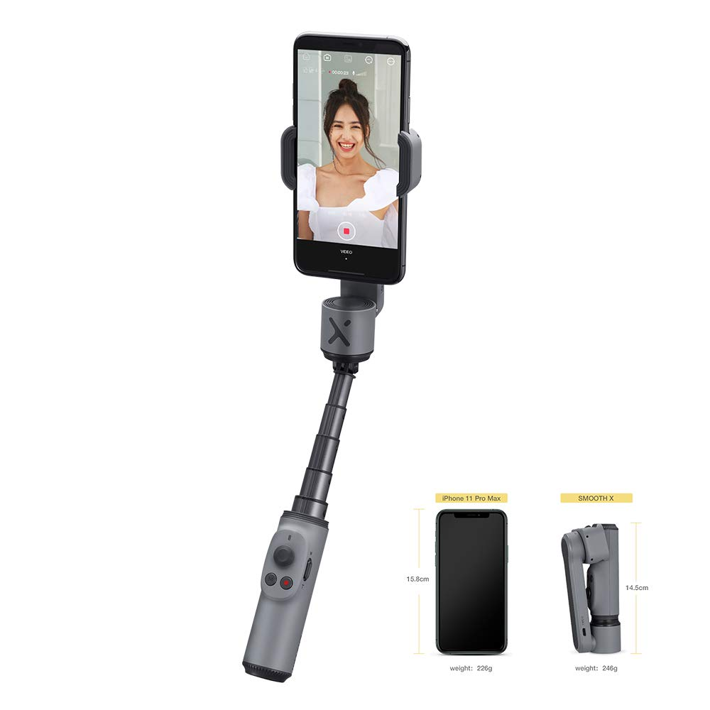 """Zhiyun Smooth X 2 Axis Extendable Smartphone Gimbal Stabilizer for iPhone 11 Pro Max XS Max Xr X 8 Plus 246g Foldable & Extendable Grip Design New""""ZY CAMI""""APP Gesture Control (Grey)"""