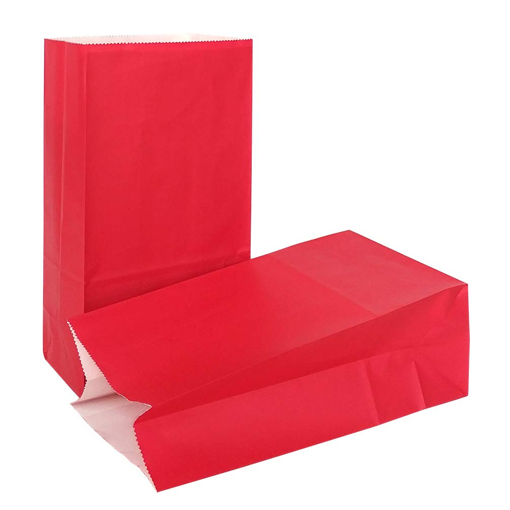 KEYYOOMY Small Bright Color Paper Bags Red Party Goody Bags for Wedding Baby Shower Kid's Birthday Party (Red, 50 CT, 4.7 X 2.4 X 8.7 in)