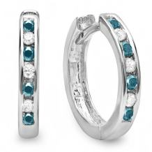Dazzlingrock Collection Small 11mm Round Huggie Hoop Earring, Sterling Silver