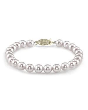 White Saltwater Cultured Japanese Akoya Pearl Diamond Pendant Diamond Necklace 14K Gold 7-7.5mm