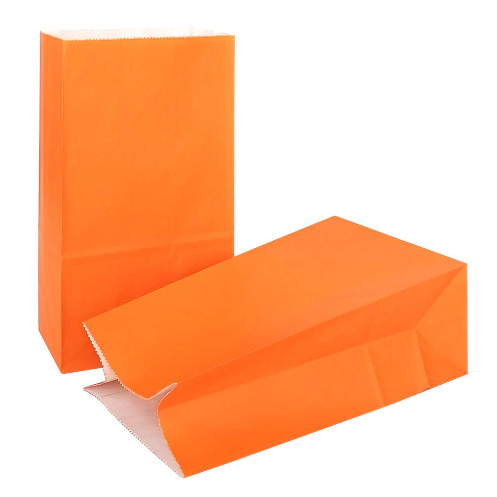 KEYYOOMY Small Bright Color Paper Bags Orange Party Goody Bags for Wedding Baby Shower Kid's Birthday Party (Orange, 50 CT, 4.7 X 2.4 X 8.7 in)