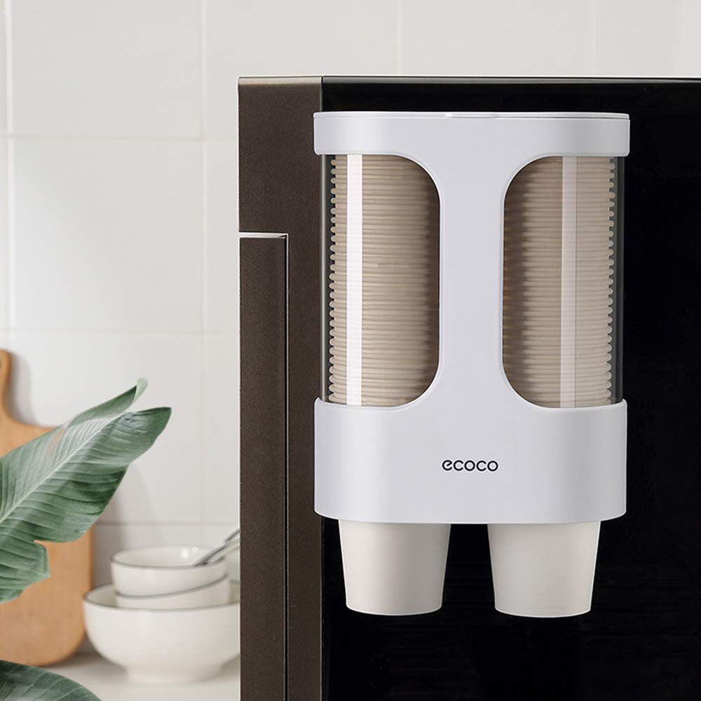 iHEBE Cup Dispenser for Water Dispenser, Paper Cup Holder for Water Cooler, Self Adhesive No Drilling Holes, Anti-Dust Cover, Fits 3-7.5oz Disposable Cups