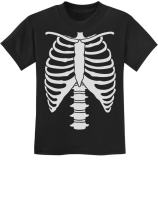 Halloween Skeleton Rib Cage Xray Front and Back Easy Costume Youth Kids T-Shirt