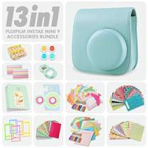 Fujifilm Instax Mini 9 Ice Blue 13 Piece Accessory Bundle Includes Camera Case with Strap, Selfie Lens, Photo Album, Decorative Stickers, Colorful Frames and a Whole Lot More