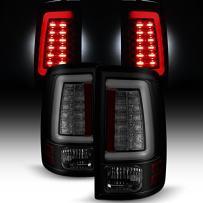 For [C-Shape LED Light Lube] 2013-2018 Dodge Ram Pickup Truck (DS/DJ/D2) Black Smoked Tail Lights Rear Brake Lamps Pair