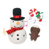 FRANKIEZHOU Christmas Stuffed Animals Snowman Plush Toy 7'' Christmas Baby Toys Funny Cute with 2 Hand Rattles-Candy Cane&Gingerbread Man-Best Gift for Kids,Girls,Boys,Party-Original Design